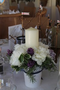 Table-centre, peony, lilac and rosemary